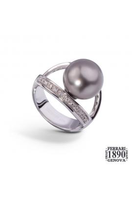 Anello perla Tahiti oro bianco 18 KT