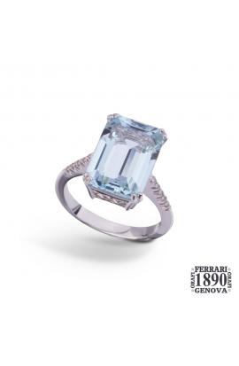 Anello oro bianco 18 KT con diamante e acquamarina