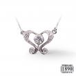 Pendente fantasia a core in oro bianco 18 KT con diamanti