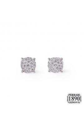 Orecchini oro bianco 18 kt diamanti