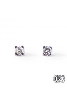 Orecchini punto luce oro bianco 18 KT con diamanti