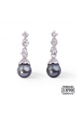 Orecchini perle Tahiti e diamanti