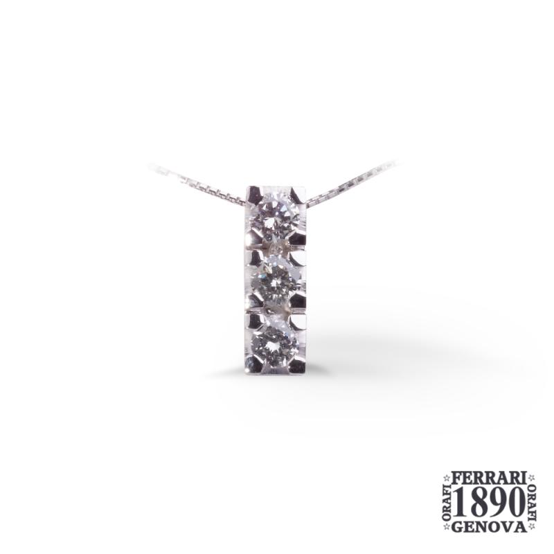 Pendente trilogy in oro bianco 18 KT con diamanti