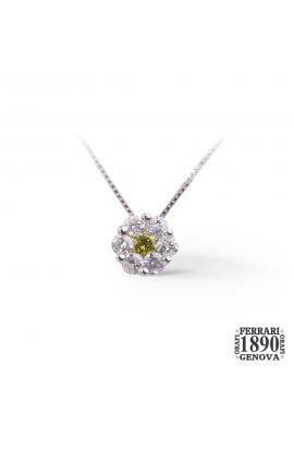 Pendente con centrale fancy e contorno diamanti oro bianco 18 KT