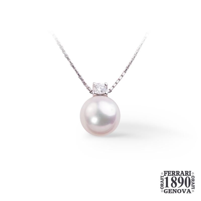 Pendente con perla Giappone oro bianco 18 KT e diamante