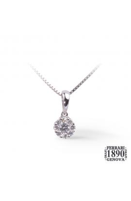 Pendente a margherita con diamanti oro bianco 18 KT