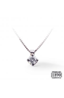 Pendente punto luce posizione a rombo in oro bianco 18 KT con diamante