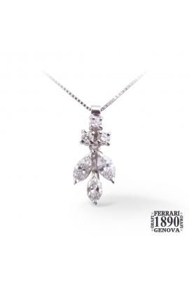 Pendente fantasia in oro bianco 18 KT con diamanti