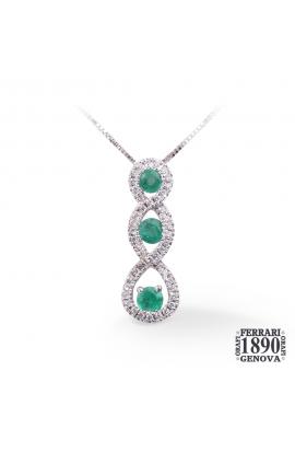 Pendente trilogy in oro bianco 18 KT con diamanti e smeraldi