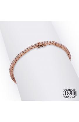 Bracciale tennis oro rosa 18 KT con diamanti