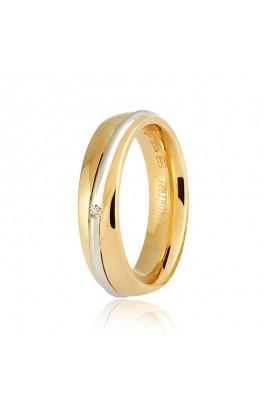 Saturno Oro giallo e bianco · diamante ct. 0.01